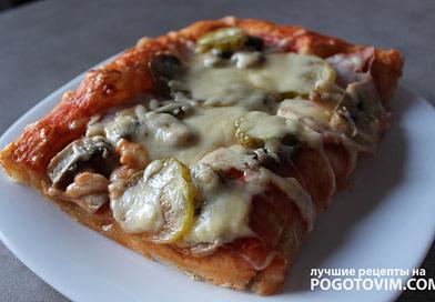 Пицца на пышном тесте с ветчиной и шампиньонами Рецепт