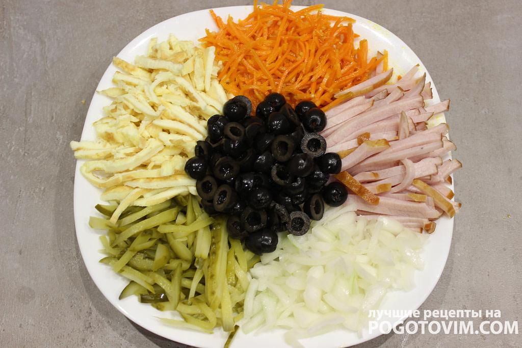Салат Кучки с яичным блином рецепт