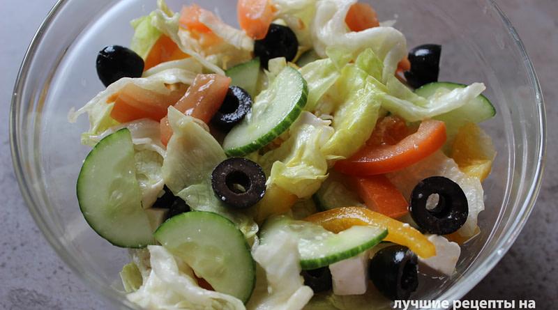 Греческий салат с творожным сыром Рецепт