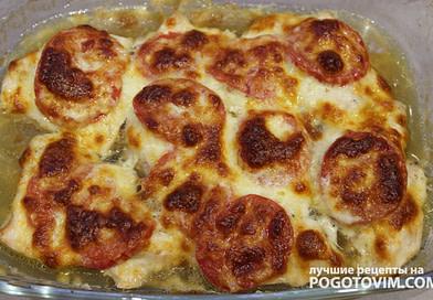 Куриные отбивные с помидором и сыром в духовке рецепт