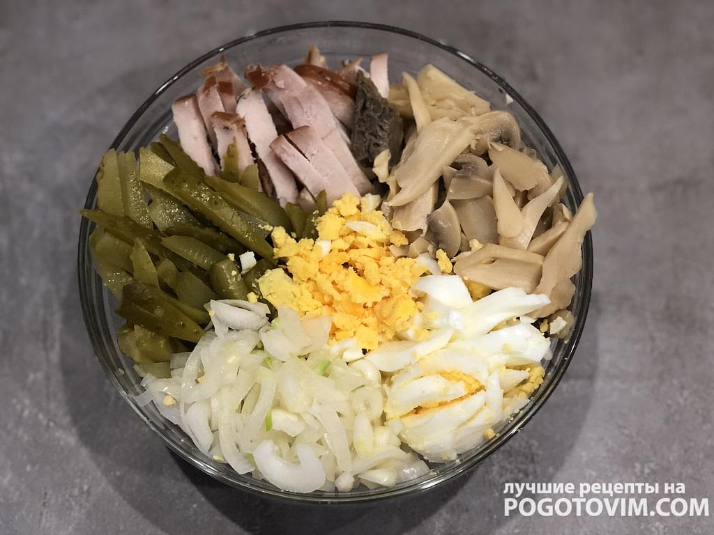 Салат с ветчиной, соленым огурцом и консервированными шампиньонами  рецепт