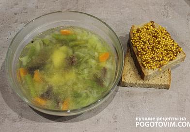 Рецепт Овощной суп со стручковой фасолью на курином бульоне