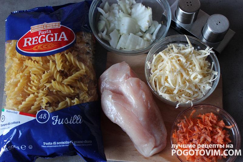 Макароны с куриной грудкой луком и морковкой рецепт