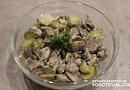 Салат с куриными сердечками, шампиньонами и огурцами рецепт