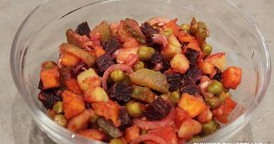 Салат Винегрет с соленым огурцом рецепт