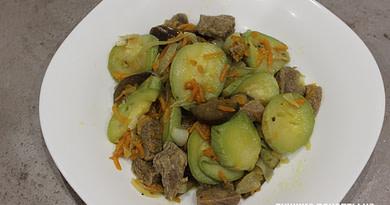 Говядина тушеная с кабачком и баклажаном рецепт